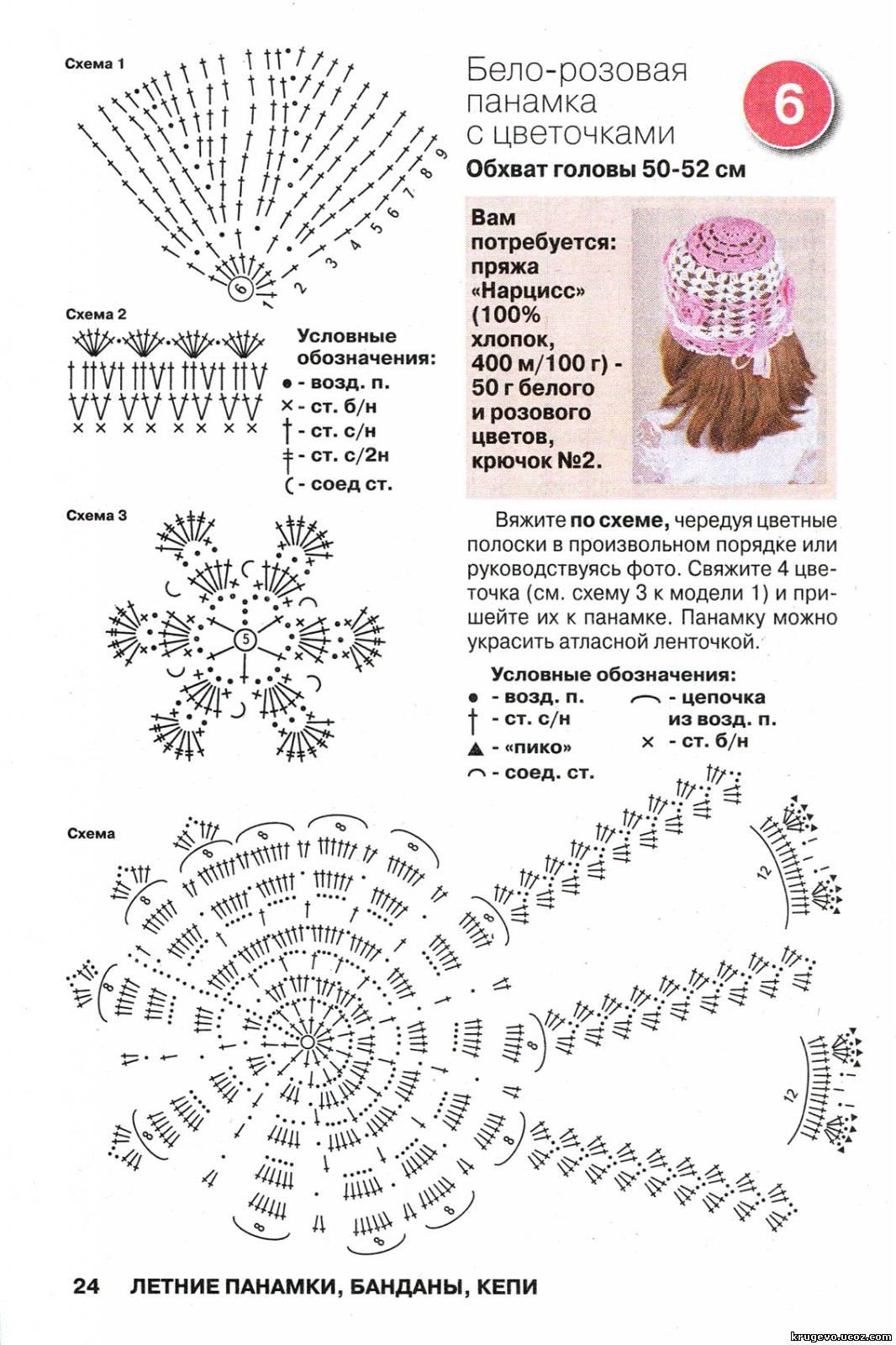 Схемы цветов крючком для панамок
